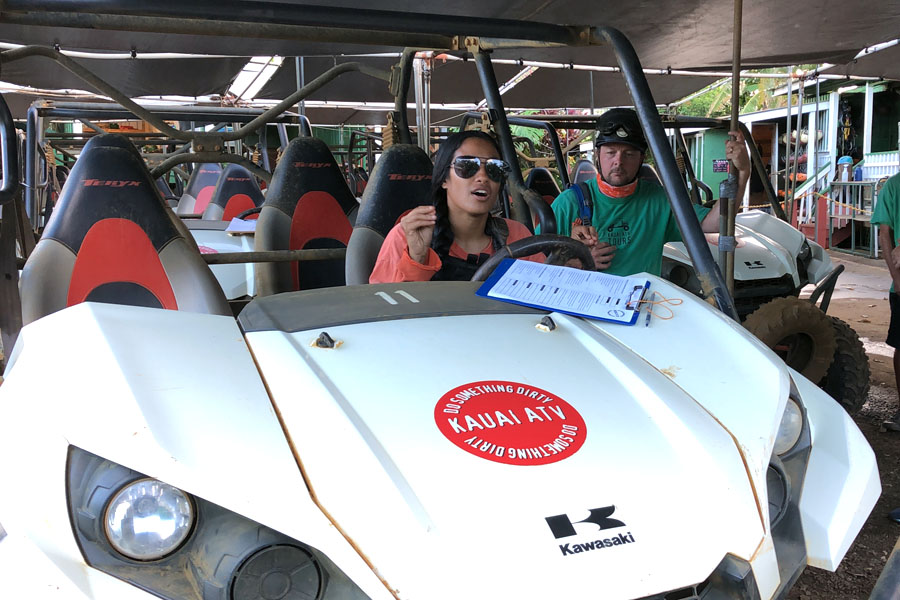 Kauai ATV Waterfall tour with family / teens in Ohana Bug in Kauai Hawaii Instruction and Safety