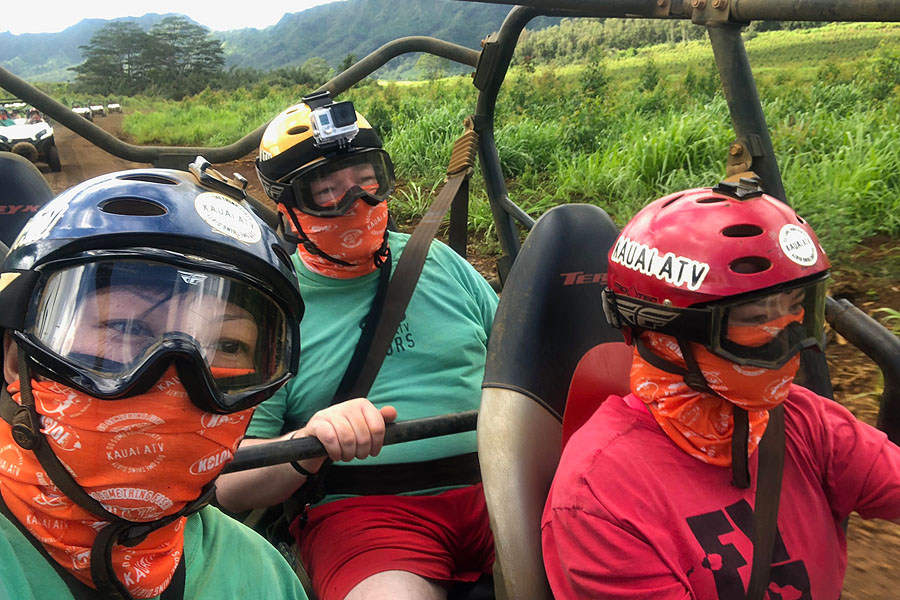 Kauai ATV Waterfall tour with family / teens in Ohana Bug in Kauai Hawaii Family Selfie