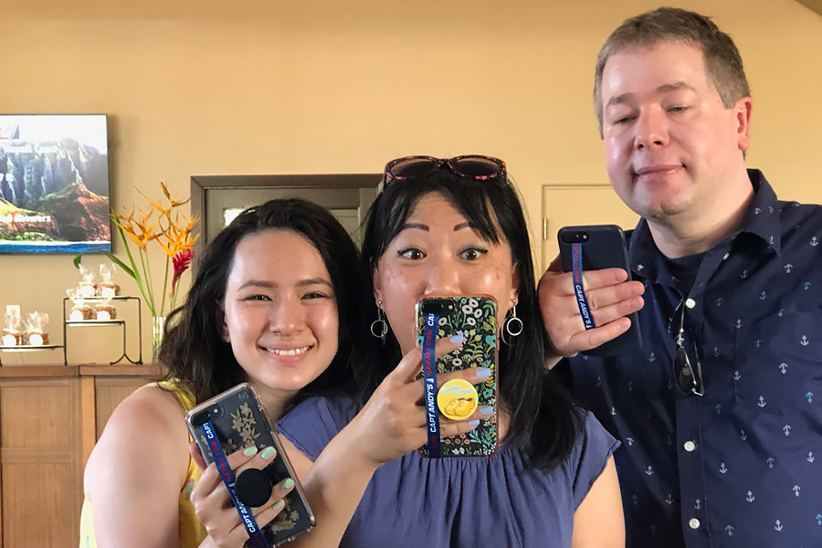 Top things to do in Kauai Hawaii — Kauai Napali Coast boat tour / Na Pali Coast sunset cruise Capt. Andy's phone strap selfie