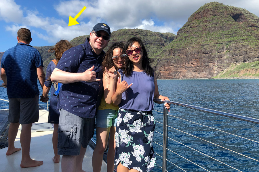 Top things to do in Kauai Hawaii — Kauai Napali Coast boat tour / Na Pali Coast sunset cruise family photo