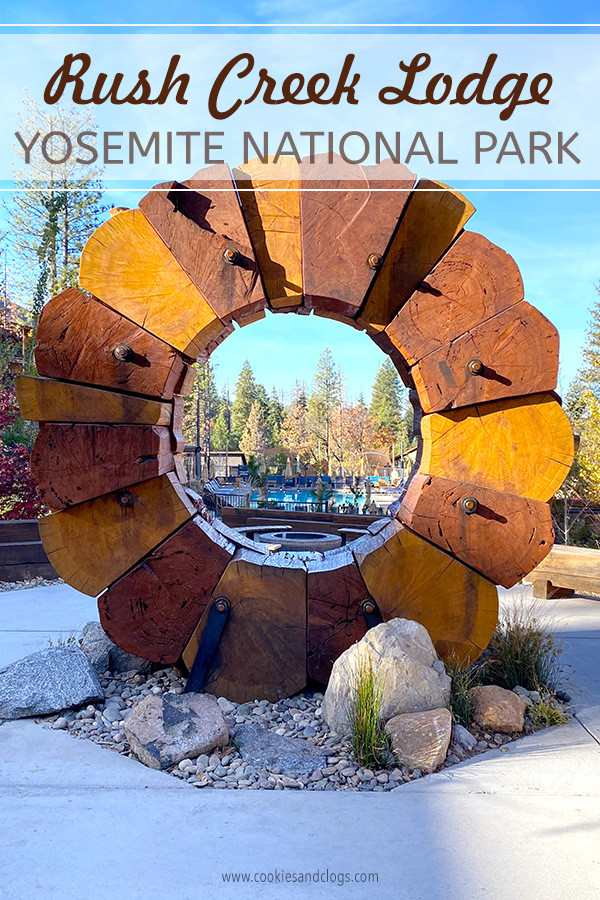 Rush Creek Lodge in Groveland, CA near Yosemite National Park Wooden Sculpture in Center