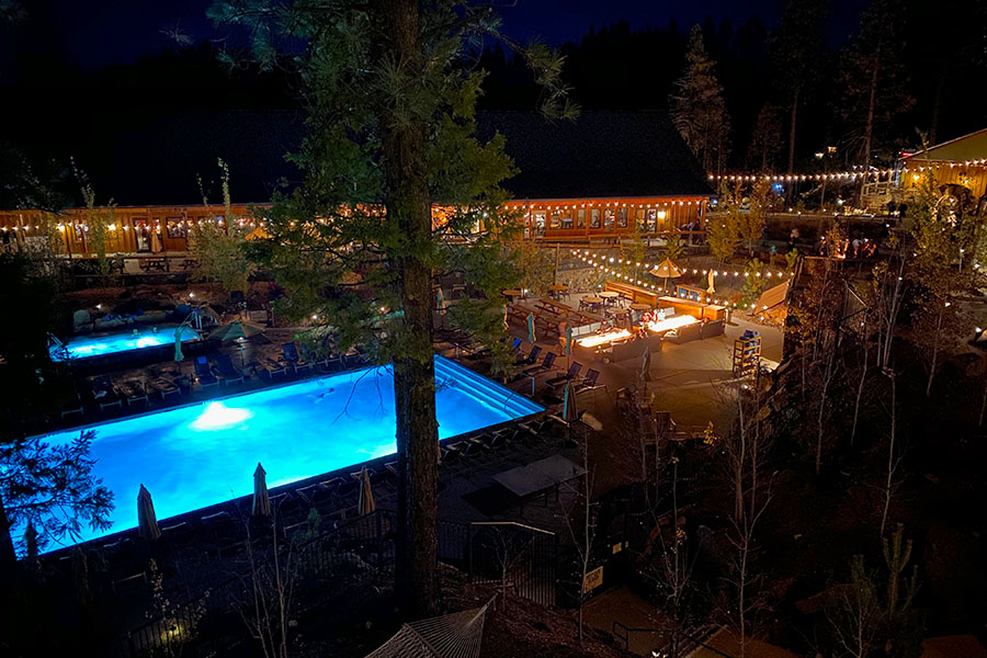 Rush Creek Lodge in Groveland, CA near Yosemite National Park Pool at Night