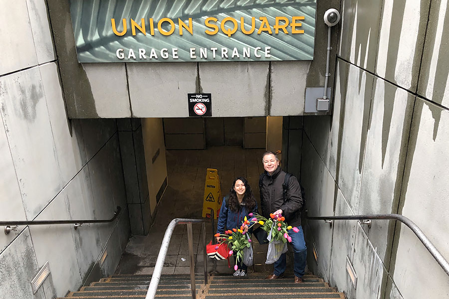 2020 Flower Bulb Day in San Francisco on March 7th! at Union Square in San Francisco on March 7. Photo from 2019 free tulips event underground parking garage