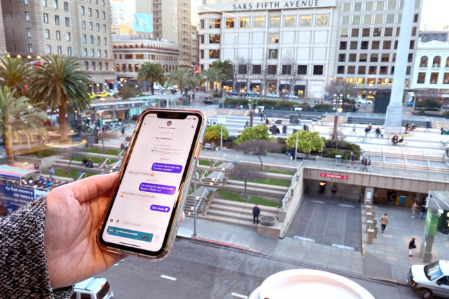 TextNow Free Nationwide Talk and Text Free Cellular Phone Plan Above Union Square San Francisco CA