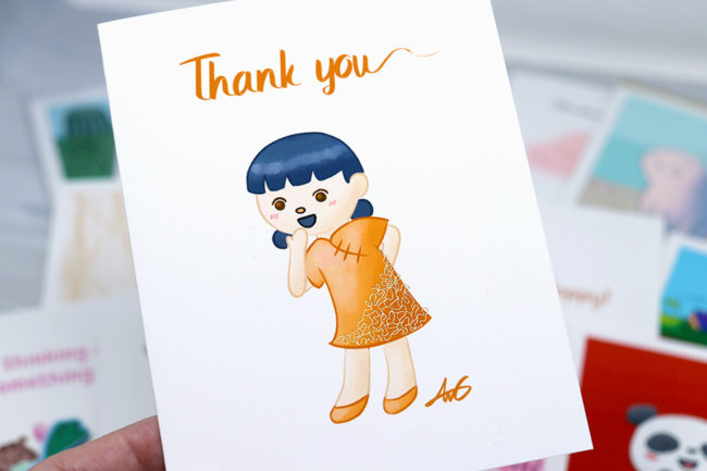 Anelynn.com online store for cute greeting cards, stickers, magnets, prints china doll
