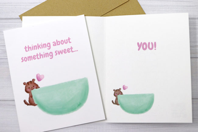 Anelynn.com online store for cute greeting cards, stickers, magnets, prints thinking of you sweet